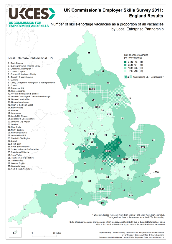 Where to assign skills funding? Skills shortage density by LEP gives some hints